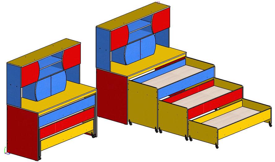 Кровать 3 ярусная с тумбой