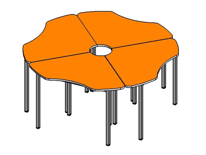 Стол Ромашка 4 секции (М)