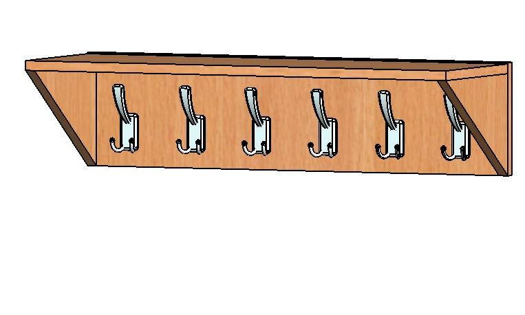 Вешалка 6 крючков 760 х257х190
